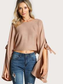 Cut Out Tie Sleeve Crop Top BLUSH