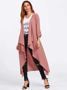 Roll Up Sleeve Waterfall Coat