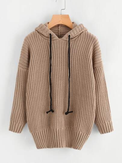 Drop Shoulder Cable Hooded Sweater