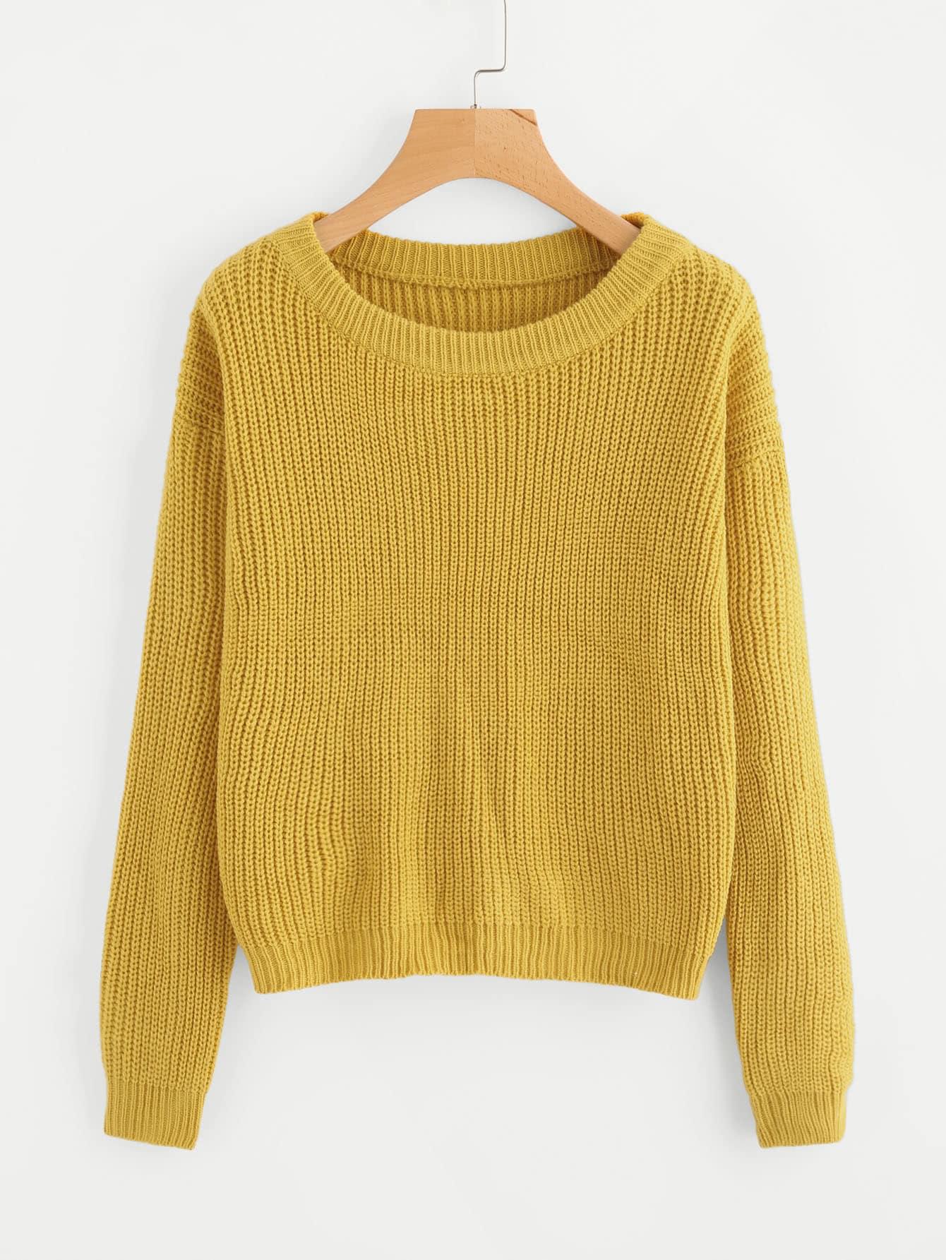 Drop Shoulder Solid Sweater drop shoulder two tone eyelet sweater