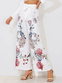 Self Belted Flower Print Palazzo Pants