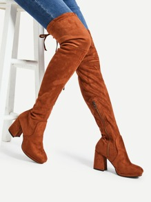 Tie Back Over The Knee Heeled Boots