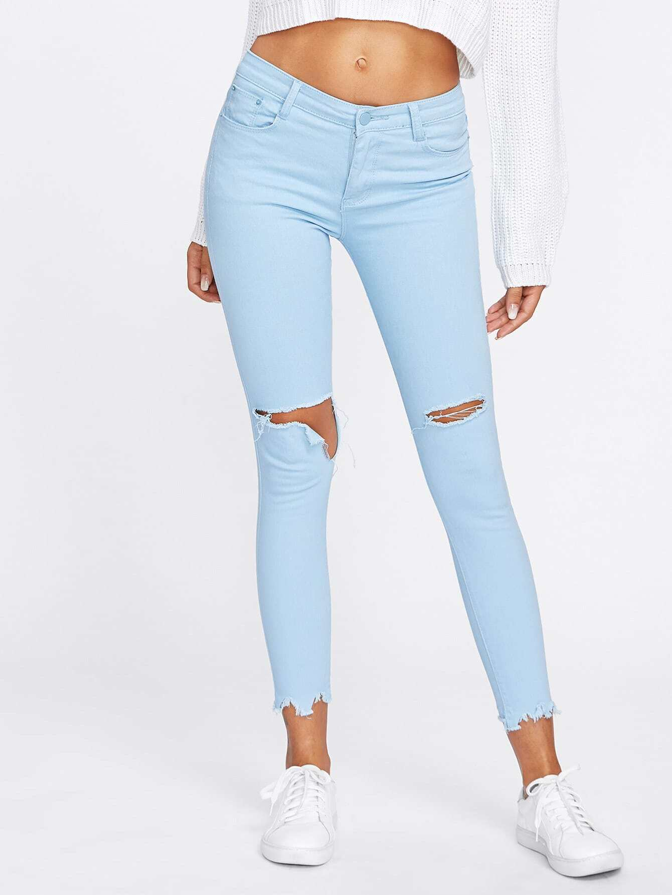 Ripped Raw Hem Jeans