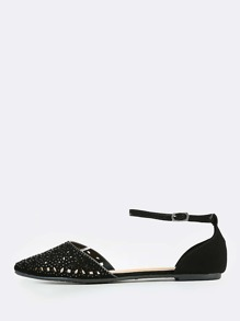 Cut Out Point Toe Flats BLACK