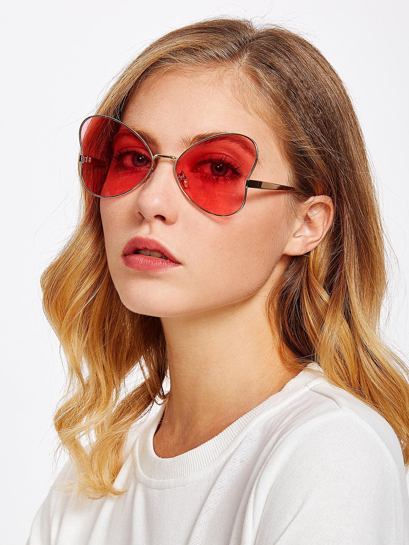 Heart Pattern Tinted Lens Sunglasses
