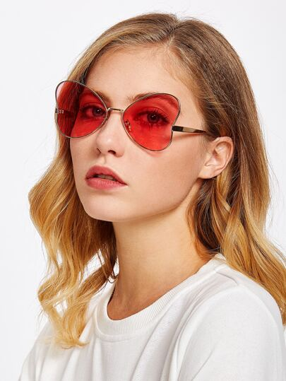 Heart Pattern Tinted Lens Sunglasses