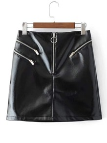 Zipper Detail PU Biker Skirt