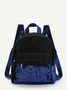 Two Tone Velvet Panel Backpack