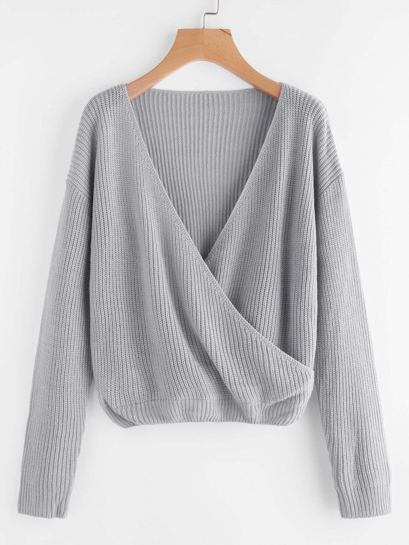 Drop Shoulder Surplice Front Sweater drop shoulder two tone eyelet sweater
