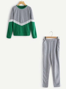 Cut And Sew Panel Sweatshirt With Track Pants