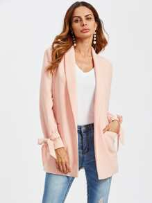 Bow Tied Cuff Pocket Front Blazer