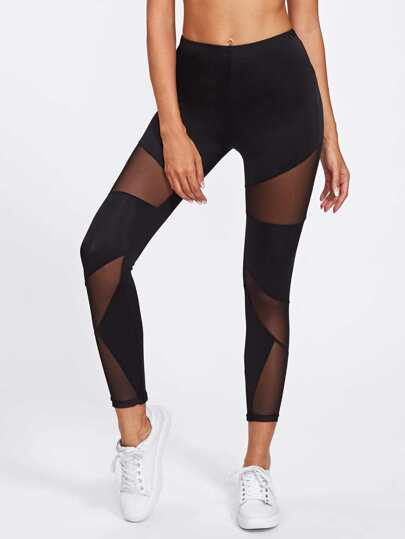 Mesh Panel Skinny Leggings