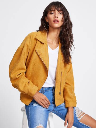 Exaggerate Sleeve Asymmetric Zip Biker Jacket