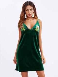 Dual V Neck Embroidered Velvet Cami Dress