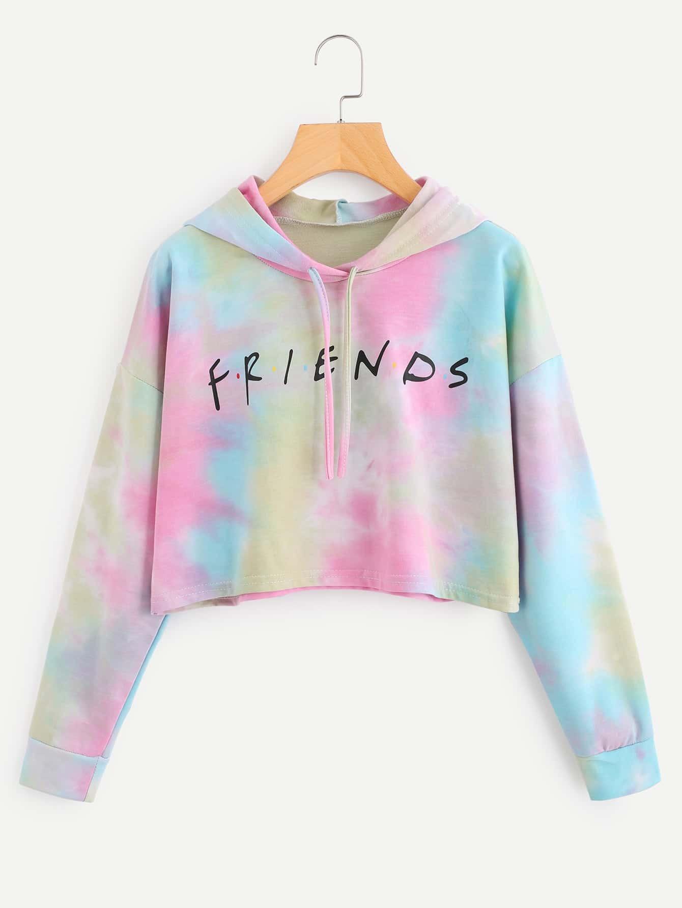 Letter Print Water Color Hoodie sweatshirt170918013