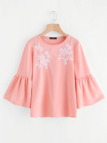 Flower Embroidered Trumpet Sleeve Top