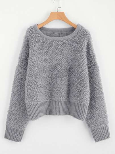 Drop Shoulder Fluffy Jumper