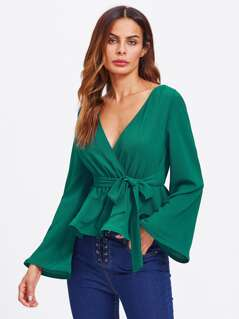Bell Sleeve Surplice Wrap Blouse