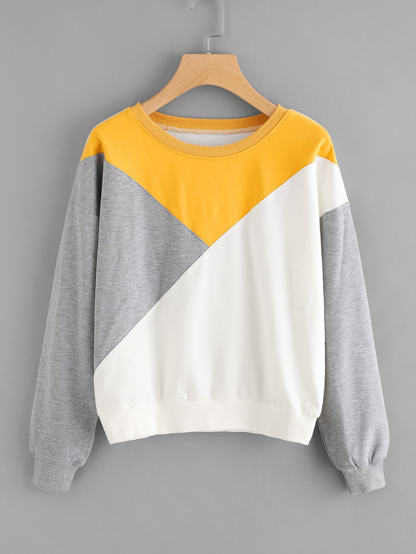 Cut And Sew Panel Drop Shoulder Sweatshirt two tone drop shoulder sweatshirt