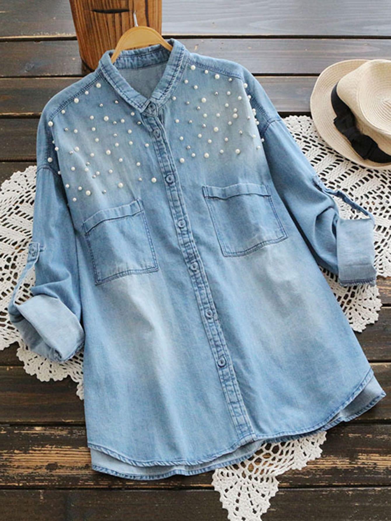 Rolled Sleeve Pearl Detail Dip Hem Denim Shirt