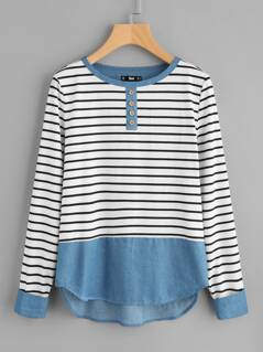 Buttoned Front Mixed Media Striped Tee