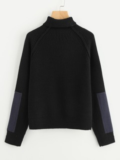 Patch Detail Raglan Sleeve Jumper