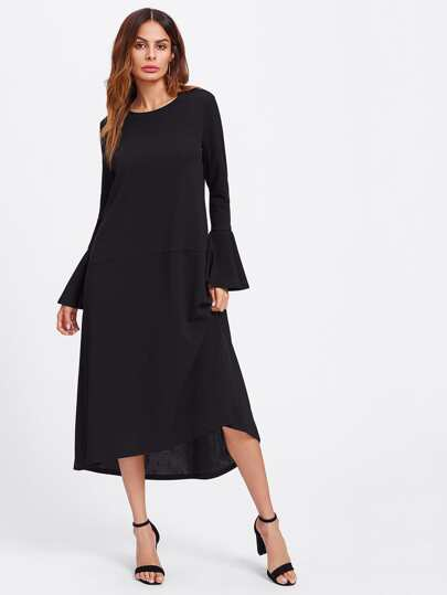 Flared Cuff Dip Hem Dress