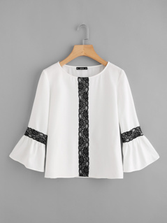Contrast Lace Applique Bell Sleeve Top