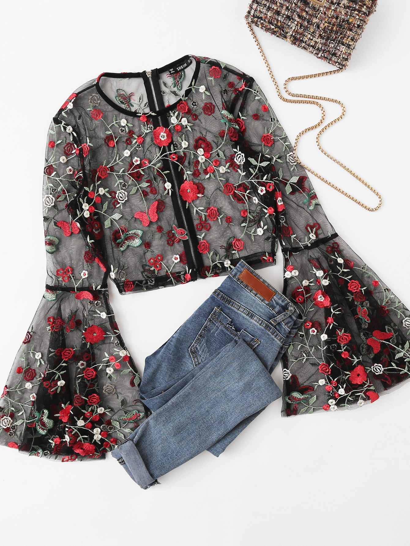 Fluted Sleeve Botanical Mesh Top blouse170927711