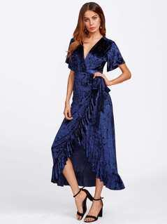 Frill Trim Surplice Wrap Crushed Velvet Dress