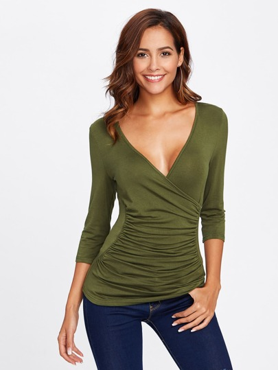 Ruched Surplice Wrap Top