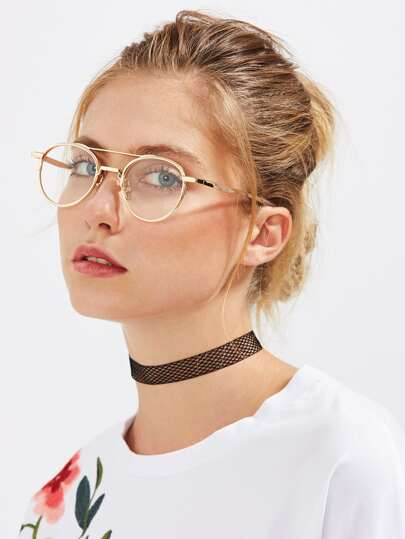Flat Lens Metal Frame Glasses
