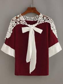 Crochet Shoulder Bow Tie Neck Top