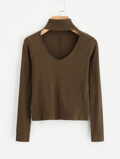 V Cut Choker Ribbed Sweater