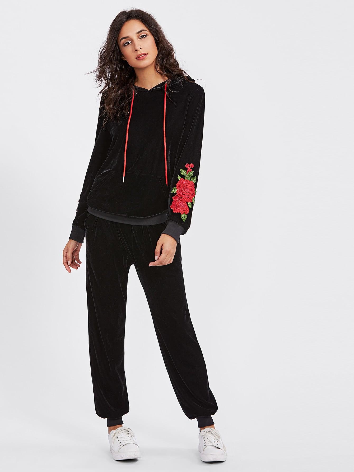 Image of 3D Flower Patch Velvet Hoodie & Sweatpants Set