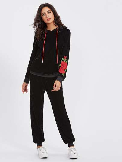3D Flower Patch Velvet Hoodie & Sweatpants Set