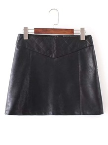 Quilted Stitch PU Mini Skirt