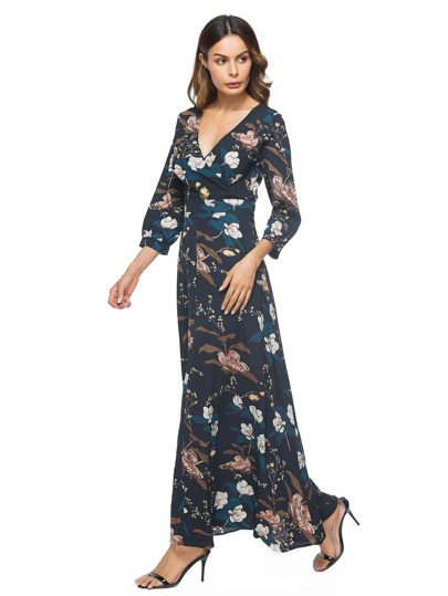 Surplice Neckline Botanical Print Dress
