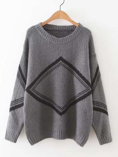 Geometric Pattern Drop Shoulder Sweater