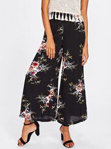 Floral Chiffon Wide Leg Pants