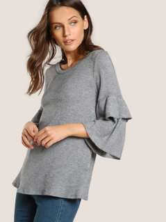 Layered Ruffle Sleeve Top GREY