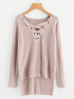 Lace Up Front Raglan Sleeve Staggered Jumper