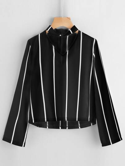 V Cut Striped Zip Back Blouse