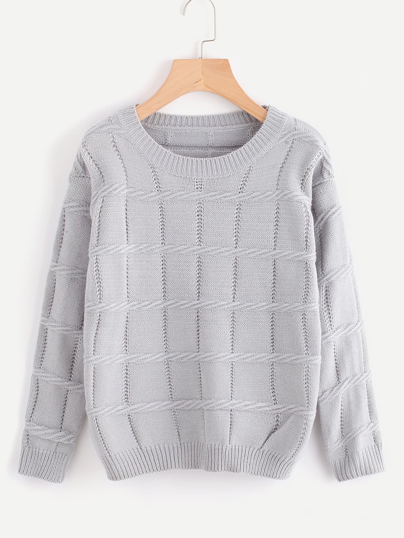 Hollow Out Textured Knit Sweater sweater170919110