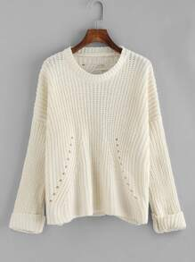 Eyelet Detail Shredded Back Chunky Knit Sweater