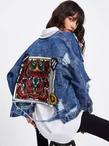 Embroidered Back Extreme Distressing Denim Jacket