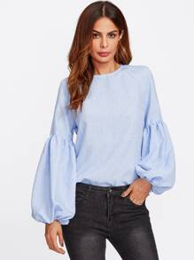 Exaggerated Lantern Sleeve Keyhole Back Top