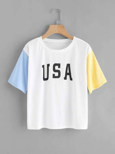 Contrast Sleeve Letter Print Tee
