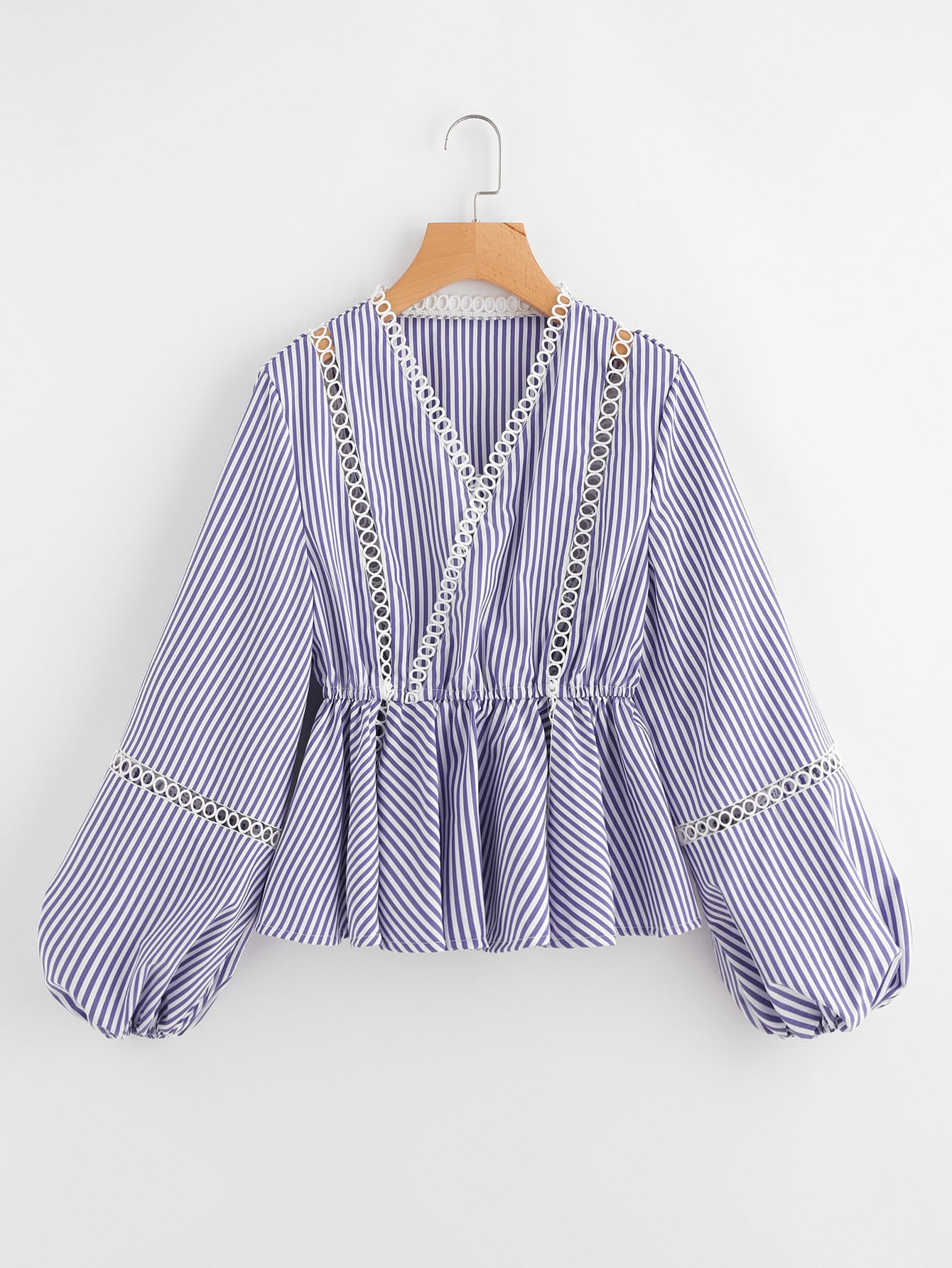 Lace Insert Overlap Front Striped Peplum Top