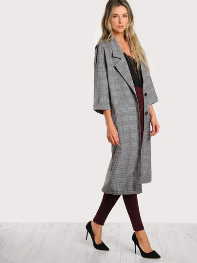Plaid Quarter Sleeve Trench Coat MULTI